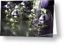 Aubergine Paris Wine Glasses Greeting Card