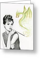 Audrey And Her Magic Dragon Greeting Card