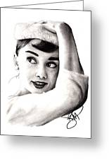 Audrey Hepburn 2 Greeting Card by Rosalinda Markle