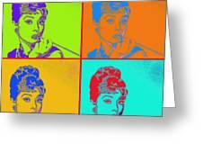 Audrey Hepburn 20130330v2 Four Greeting Card