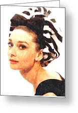 Audrey Hepburn In Watercolor Greeting Card