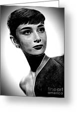 Audrey Hepburn - Black And White Greeting Card
