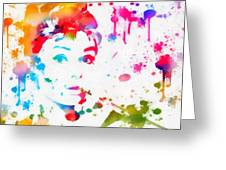 Audrey Hepburn Paint Splatter Greeting Card