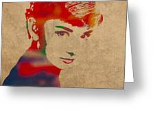 Audrey Hepburn Watercolor Portrait On Worn Distressed Canvas Greeting Card