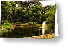 August By The Fountain Greeting Card