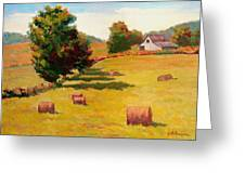 August Hay Field Greeting Card
