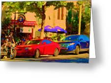 Aupres De Ma Blonde Resto Bar Terrasse Rue St Denis Montreal Cafe Street Scene Art Carole Spandau Greeting Card