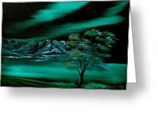 Aurora Borealis In Oils. Greeting Card