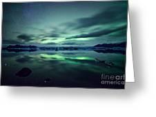 Aurora Borealis Over Lake Greeting Card