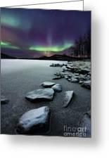 Aurora Borealis Over Sandvannet Lake Greeting Card