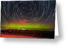 Aurora Startrail  Greeting Card