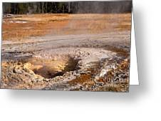 Aurum Geyser In Upper Geyser Basin In Yellowstone National Park Greeting Card