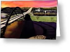 Austin 360 Bridge Greeting Card by Marilyn Hunt
