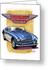 Austin Healey 3000 Blue-white Greeting Card