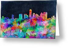 Austin Watercolor Panorama Greeting Card