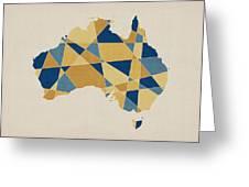 Australia Geometric Retro Map Greeting Card