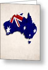 Australia Map Art With Flag Design Greeting Card
