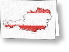 Austria Painted Flag Map Greeting Card