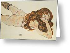 Austria Vienna Female Nude Lying On Her Stomach Greeting Card