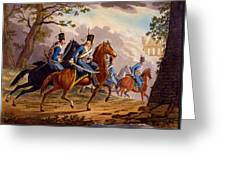 Austrian Hussars In Pursuit Greeting Card