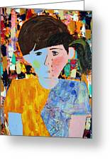 Autism - Child And Mother Greeting Card by Carmencita Balagtas
