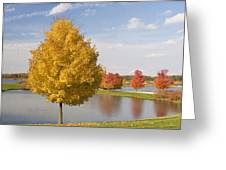 Autumn Day By The Lake Greeting Card