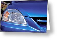 Automobile Head Light Blue Car Greeting Card