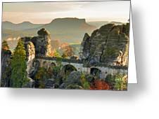 Autumn Afternoon On The Bastei Bridge Greeting Card