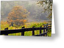 Autumn Along The Fence Greeting Card