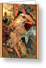 Autumn Greeting Card by Alphonse Maria Mucha