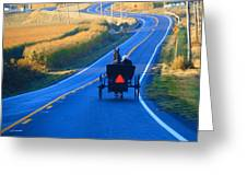 Autumn Amish Buggy Ride Greeting Card