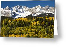 Autumn And Snow Covered Peaks North Greeting Card