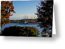 Autumn At The Seaport Greeting Card