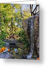 Autumn At The Waterfall Greeting Card