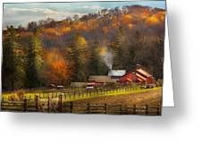 Autumn - Barn - The End Of A Season Greeting Card by Mike Savad