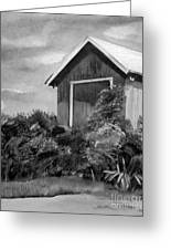 Autumn Barn - Upclose Cropped - Black And White Greeting Card