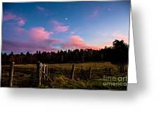 Autumn Barnyard Sunset Greeting Card