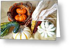 Autumn Basketful With Corn Greeting Card