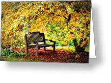 Autumn Bench In The Garden  Greeting Card