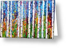 Autumn Birch Trees Abstract Greeting Card