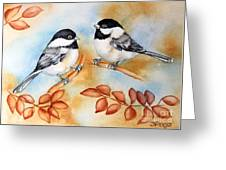 Autumn Chickadees Greeting Card