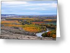 Autumn Colors On The Ebro River Greeting Card