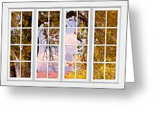 Autumn Cottonwood Tree Longs Peak White Window View Greeting Card