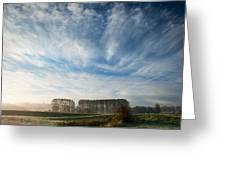 Autumn Dawn Landscape Over Frosty Misty Fields Greeting Card