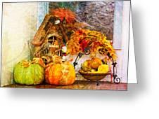 Autumn Display - Pumpkins On A Porch Greeting Card