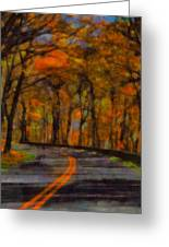 Autumn Drive Freedom And Beauty Greeting Card