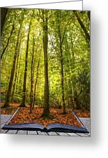 Autumn Fall Forest Landscape Magic Book Pages Greeting Card