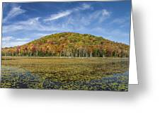Serene Pond Vermont Autumn Panorama Greeting Card