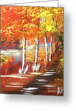 Autumn Falling Leaves  Greeting Card