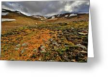 Autumn Foliage And Snowcapped Mountain Greeting Card
